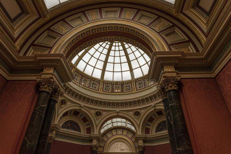 Interior of the National Gallery of arts in London. Ceiling and dome royalty free stock images