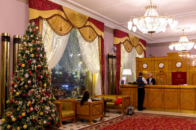 Interior of National Hotel in Moscow royalty free stock image