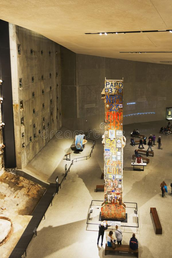 Interior of the National 9-11 Memorial Museum with the WTC foundation remains stock images