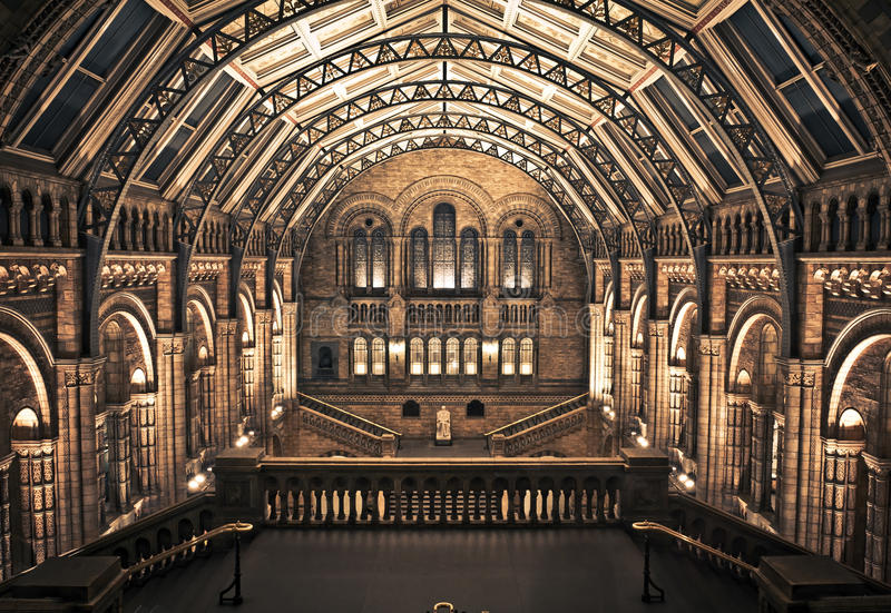 Interior of Natural History Museum, London. The main hall of Natural History Museum. This view includes the Statue of Charles Darwin (by Sir Joseph Boehm stock images