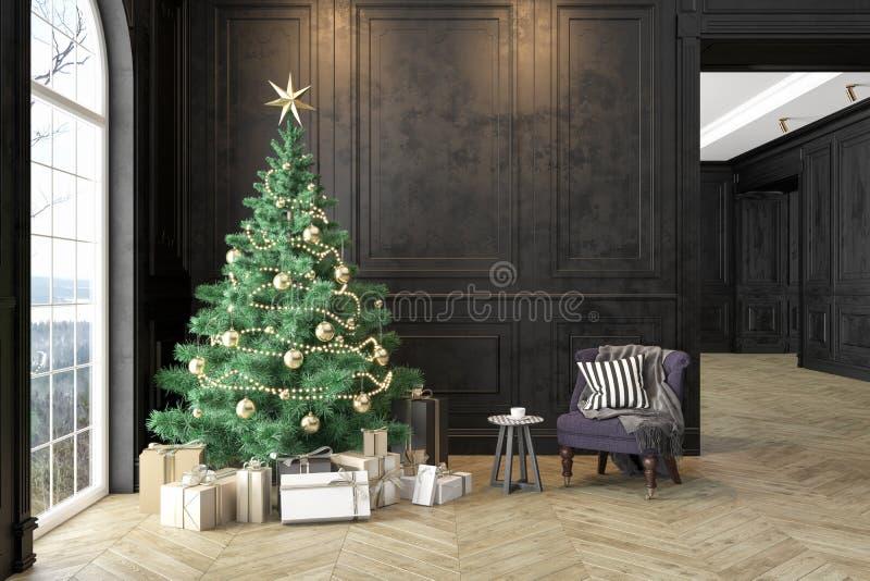 Interior negro con el árbol de navidad, butaca, regalos, almohada, los paneles de pared ilustración del vector