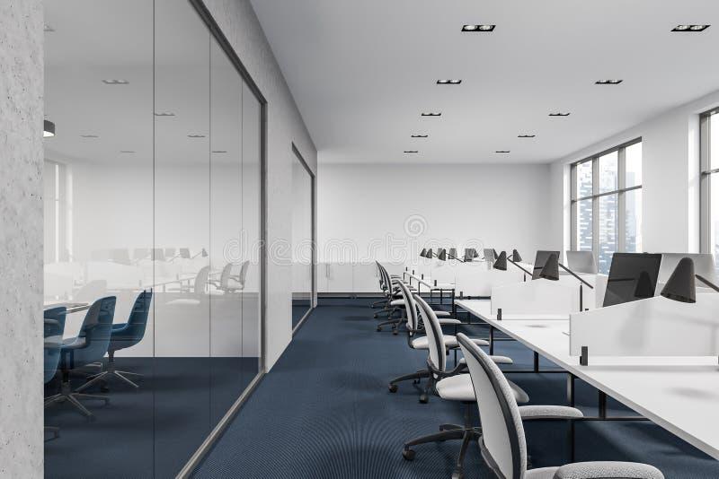 Interior negro de la oficina del espacio abierto del piso imagen de archivo libre de regalías