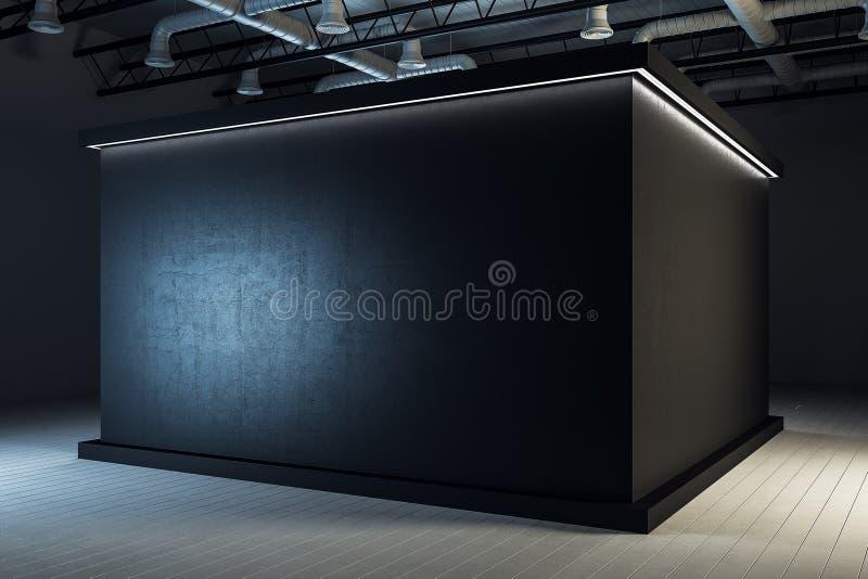 Interior negro industrial de la sala de exposiciones stock de ilustración