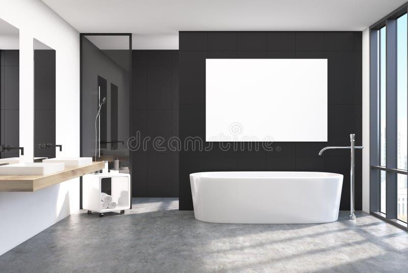 Interior negro moderno del cuarto de baño, cartel stock de ilustración