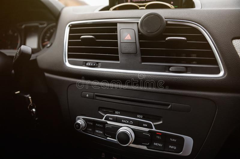 Interior of the new car. Luxury car interior. Interior View of t royalty free stock image