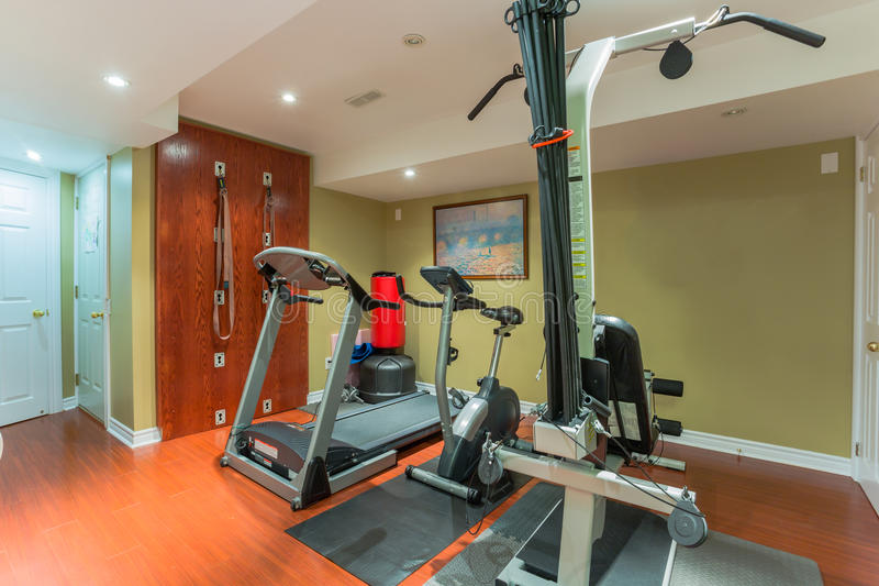 Interior of new gym with equipment stock images