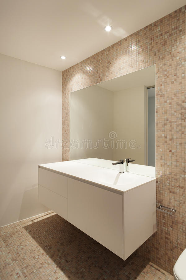 Interior new house, bathroom stock photography