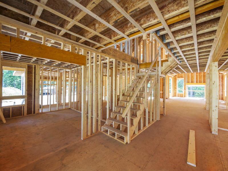 Download Interior new house framing stock photo. Image of view - 33218098