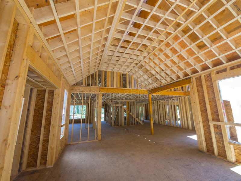 Interior New House Framing Stock Photos