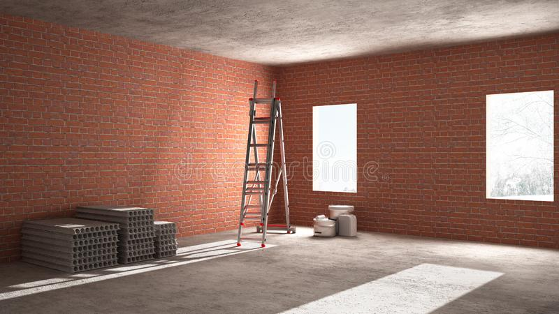 Interior of a new house under construction, home renovation, brick walls, concrete flooring, architecture engineering concept. Background with copy space stock photos