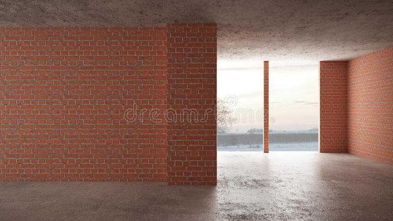 Interior of a new house under construction, home renovation, red brick walls, concrete flooring, architecture engineering concept. Background idea mock-up stock photos