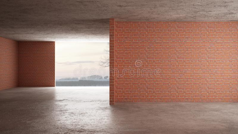 Interior of a new house under construction, home renovation, red brick walls, concrete flooring, architecture engineering concept. Background idea mock-up royalty free stock images