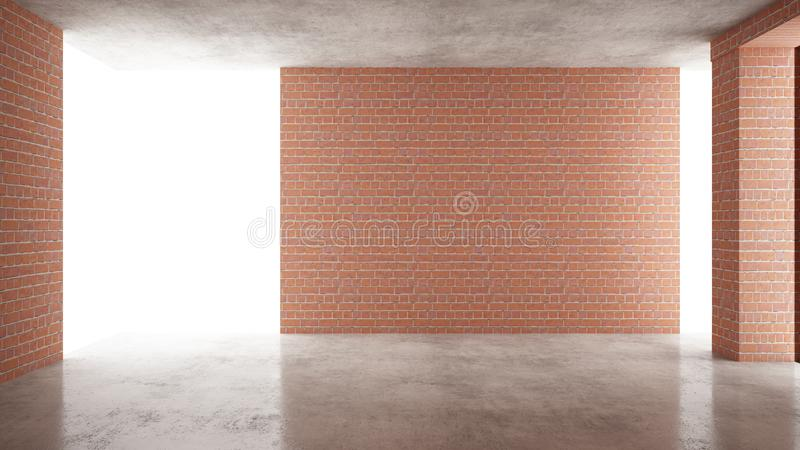 Interior of a new house under construction, home renovation, red brick walls, concrete flooring, architecture engineering concept. Background idea mock-up vector illustration