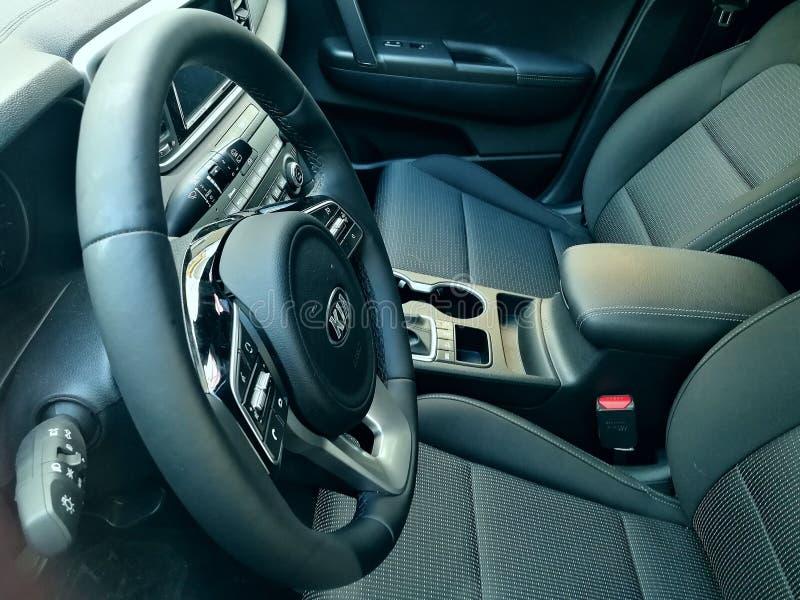 Interior New Kia Sportage car royalty free stock photos