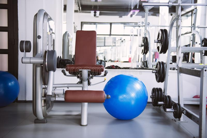 Interior of new modern gym with equipment stock photos