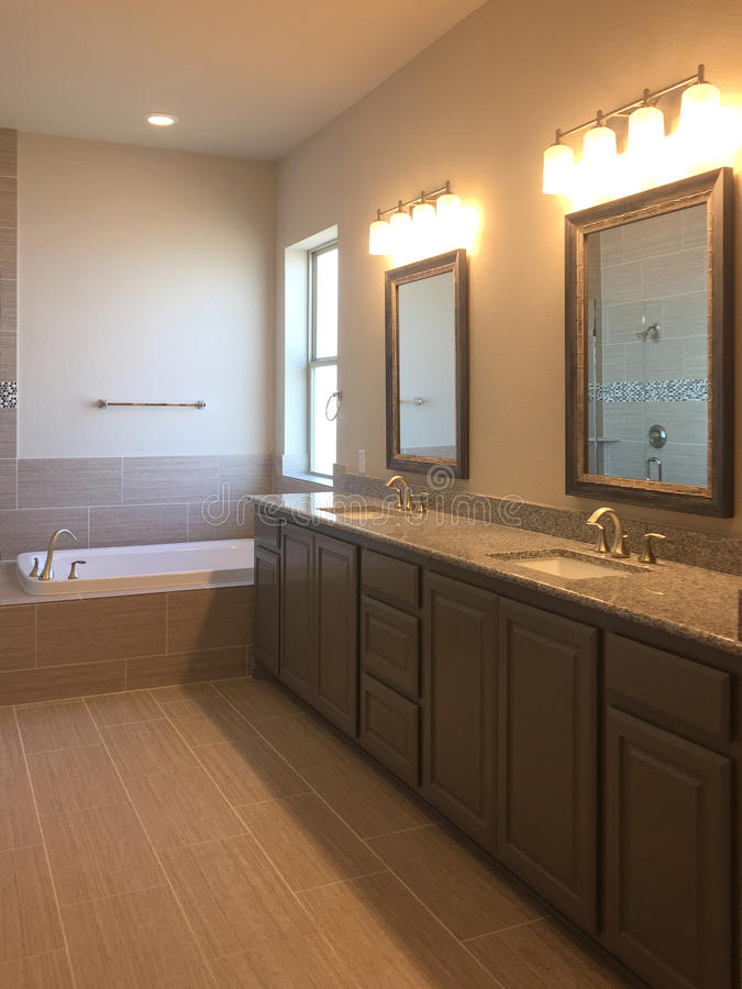 Interior of nice bathroom in a new house. TX USA royalty free stock images