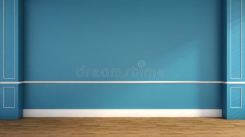 Interior no estilo clássico azul ilustração 3D ilustração stock