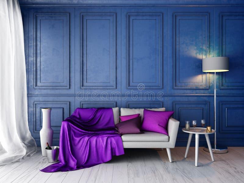 Interior no estilo clássico com parede azul e o modelo branco do sofá ilustração do vetor