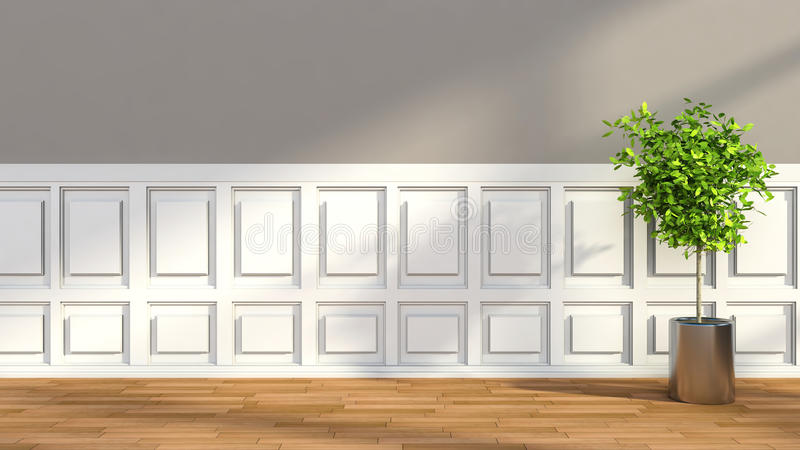 Interior no estilo clássico com planta ilustração 3D ilustração stock
