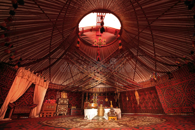 Interior of nomadic tent known as yurt. royalty free stock photos