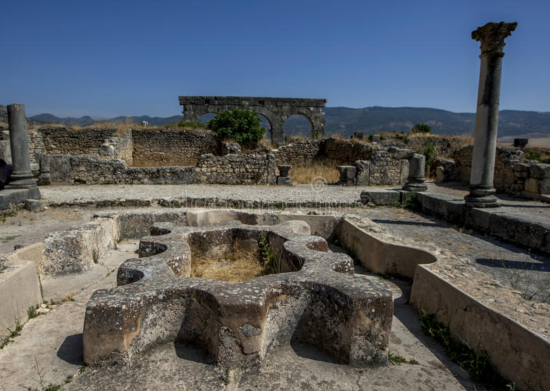 The interior of the North Baths, fed by the aqueduct at Volubilis in Morocco. Volubilis is a former Berber and Roman city in Morocco settled in the 3rd century royalty free stock image