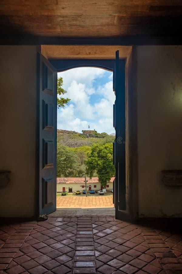 Interior of Nossa Senhora dos Remedios Churchat Vila dos Remedios and N Senhora dos Remedios Fortress - Fernando de Noronha, Brazi stock photo