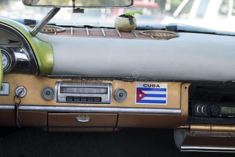 Interior of not restored classic car in Havana, Cuba stock photo