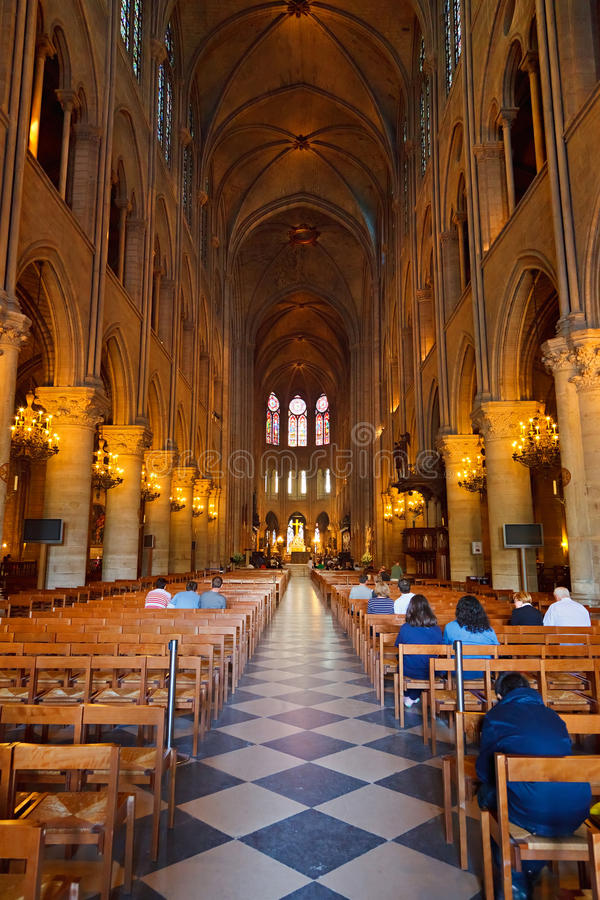 Interior Of Notre Dame Cathedral Editorial Image
