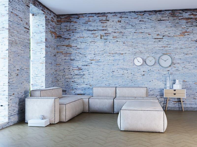 Interior novo do sótão com paredes, sofá e pulso de disparo de tijolo ilustração stock
