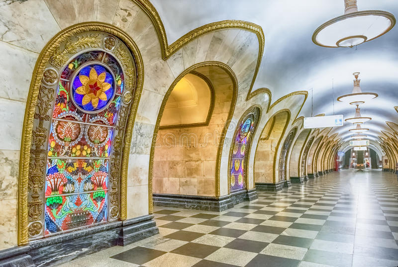 Interior of Novoslobodskaya subway station in Moscow, Russia stock photo
