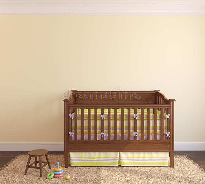 Download Interior of nursery. stock illustration. Illustration of crib - 26684082