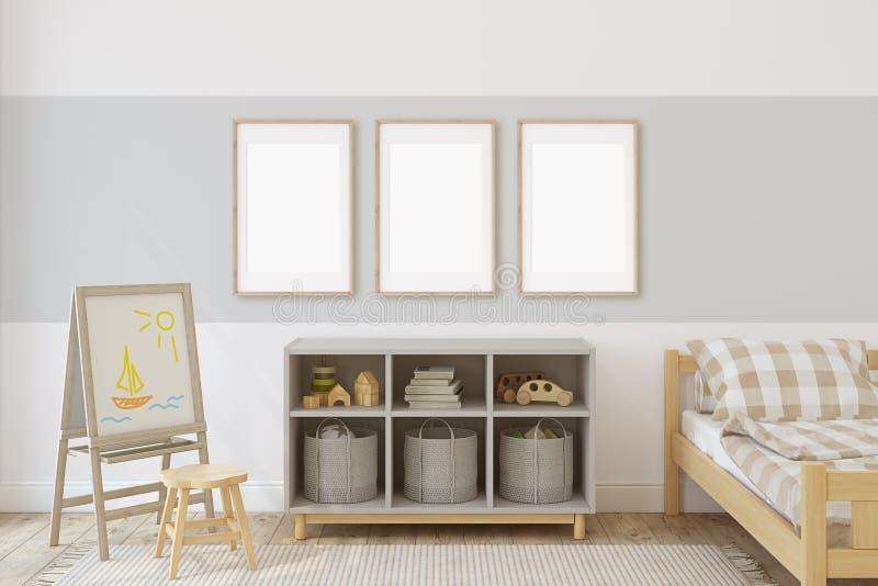 Interior of nursery. 3d render royalty free illustration