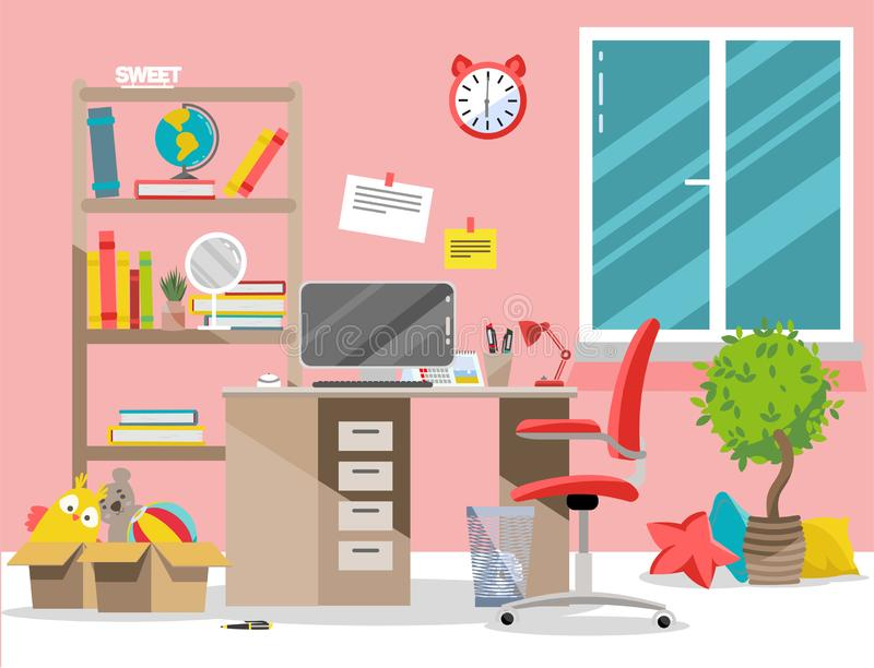 Interior nursery. Girl`s room with table, computer, bookshelf,toys in boxes.Flat cartoon vector illustration.Cozy interior of stock illustration