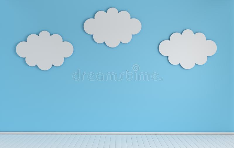 Interior of nursery with modern paper clouds decoration. 3d render. White and blue colors. Cosy childroom with empty wall for. Text royalty free illustration