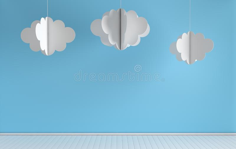 Interior of nursery with modern paper clouds decoration. 3d render. White and blue colors. Cosy childroom with empty wall for. Text stock illustration