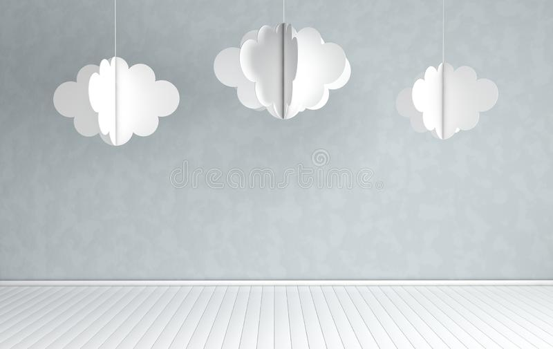 Interior of nursery with modern paper clouds decoration. 3d render. White and grey colors. Cosy childroom with empty wall  for. Text royalty free illustration