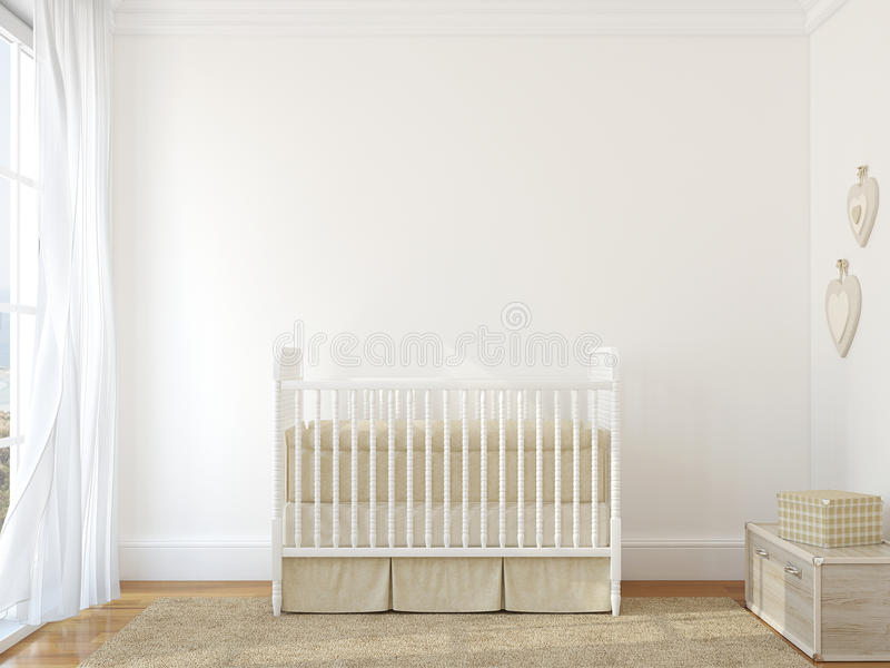 Interior of nursery. Interior of nursery with vintage crib. 3d render. Photo behind the window was made by me