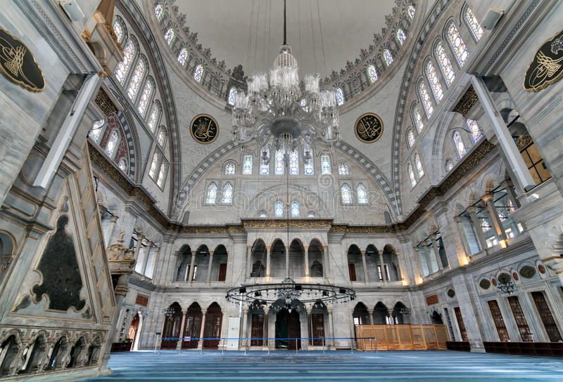 Interior of Nuruosmaniye Mosque, an Ottoman Baroque style mosque completed in 1755 located in Shemberlitash, Istanbul, Turkey stock image