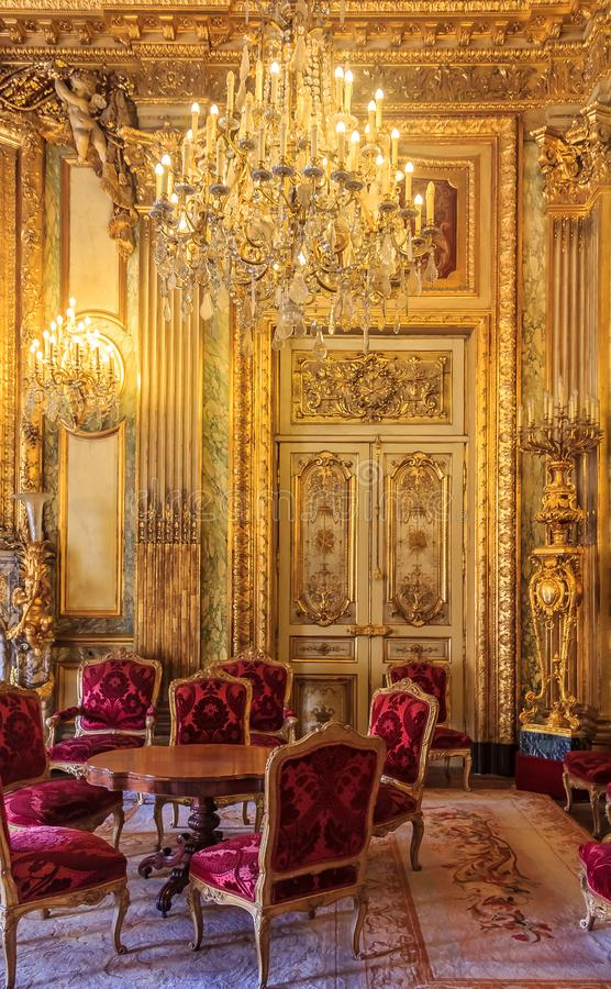 Free Interior Of The Apartments Of Napoleon III In Louvre Museum In Paris, France With Luxury Baroque Furnishings And Stunning Stock Photos - 135965433