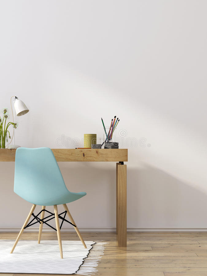 Free Interior Of Workplace With A Blue Chair Stock Photo - 76327680