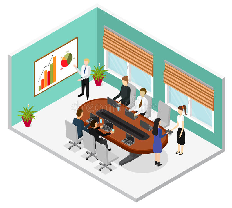 Interior Office Conference Room Isometric View. Vector royalty free illustration