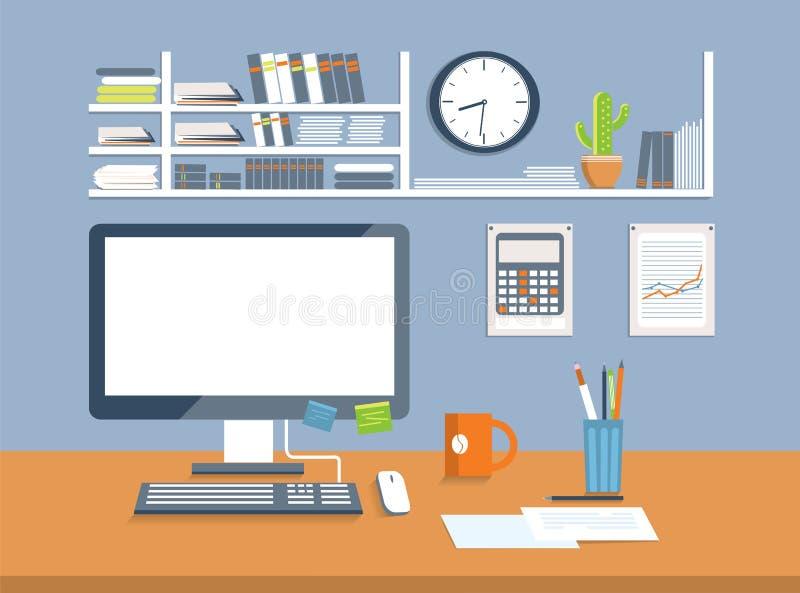 Interior Office Room Flat Design Style Stock Vector