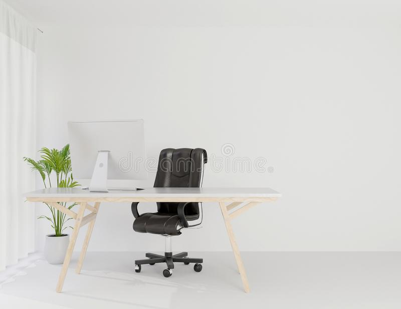 Interior office working room mock up copy space ,3d rendering stock illustration
