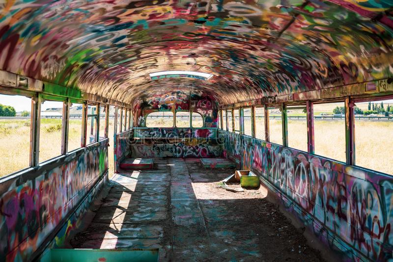 Interior of an old abandoned school bus known as That PNW Bus, located in Eastern Washington State royalty free stock image