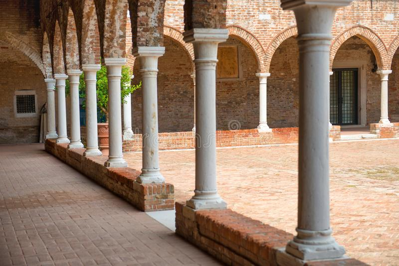 Download Interior On Old Brick House With Columns Stock Image   Image Of  Italian, Facade
