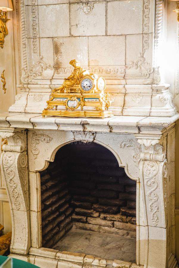 Interior of an old castle with fireplace and kitchen. Bauska castle.Latvia. Interior of an old castle with fireplace and kitchen. Bauska castle stock photo