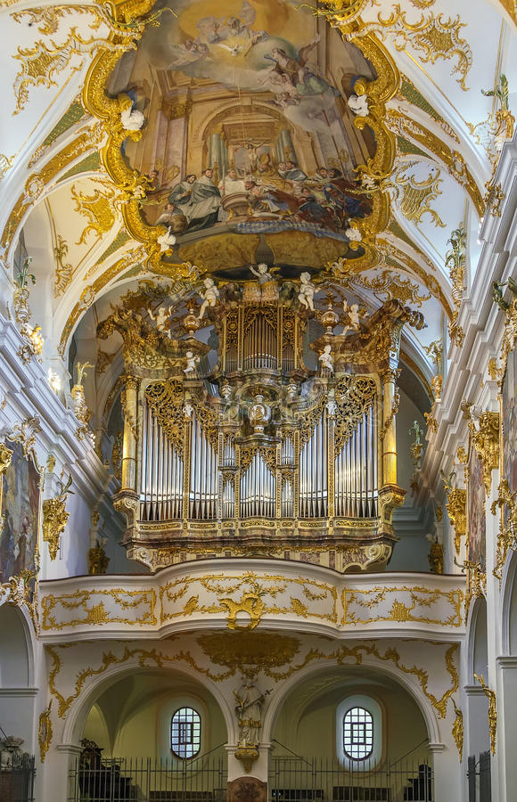 Interior of Old Chapel, Regensburg, Germany. Old Chapel in Regensburg is the best example of Bavarian rococo style, Germany. Interior, organ stock photography