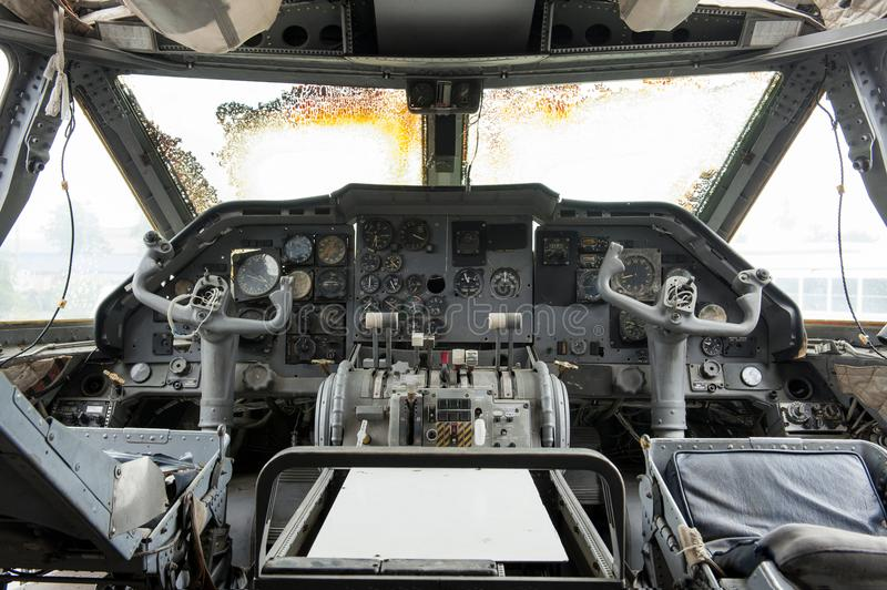 Interior of old cockpit and airplane control panel is defective. stock photo