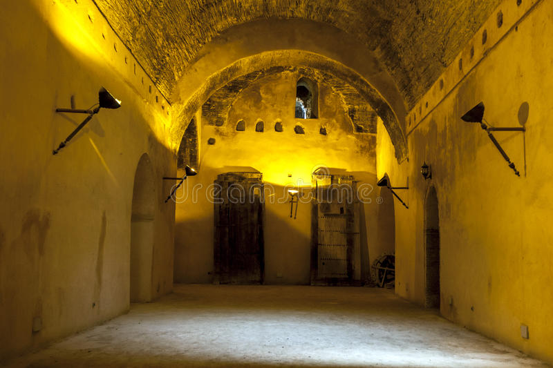 Interior of the old granary of the Heri es-Souani in Meknes, Morocco. The granary was built by Moulay Ismail, one of Morocco's greatest rulers, who made stock photo