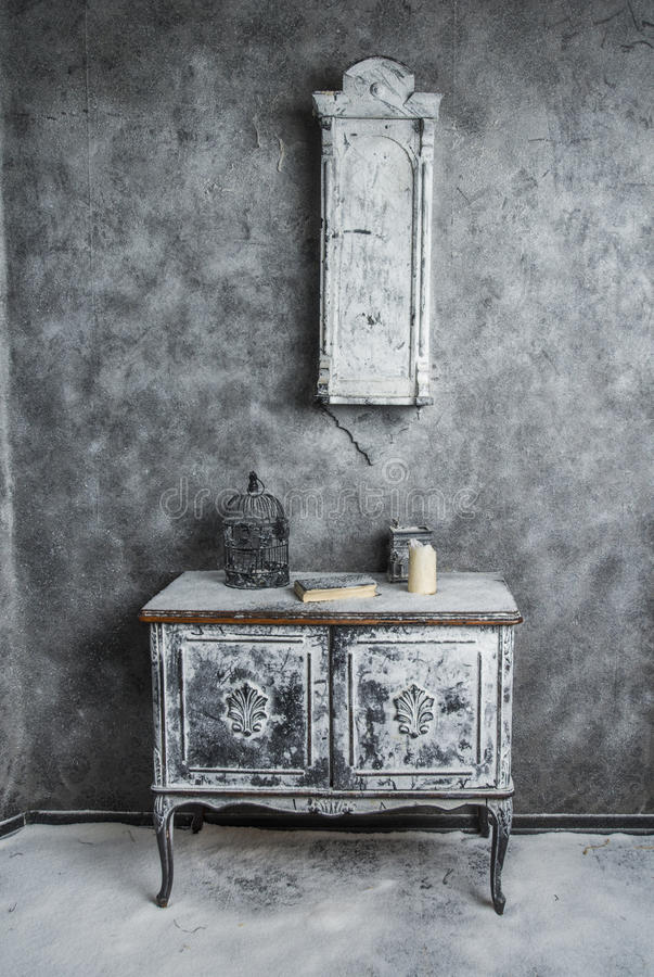 Interior of old medieval abandoned house. Commode in Interior of old medieval abandoned house stock image